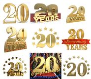 Set of number twenty years 20 years celebration design. Anniversary golden number template elements for your birthday party. 3D illustration Royalty Free Stock Photo