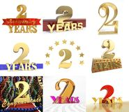 Set of number two years 2 years celebration design. Anniversary golden number template elements for your birthday party. 3D illustration Stock Image