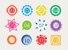 Set of number in variety shape Royalty Free Stock Images