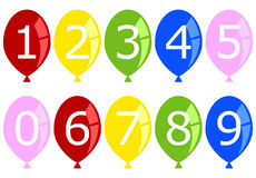 Set of Numbered Birthday Balloons Royalty Free Stock Photos