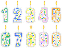 Set of Numbered Birthday Candles Stock Photography