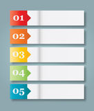 Set of 5 Numbered Paper Style Headers Stock Image