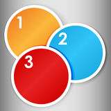 Set  of numbered round stickers. Set 1 of colorful round label or stickers in bright colors with 1,2,3, numbers in white, over light grey gradient background Stock Images