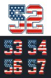 Set numbers america flag textured. Vector Royalty Free Stock Photography