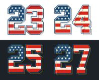 Set numbers america flag textured. Vector image Royalty Free Stock Images