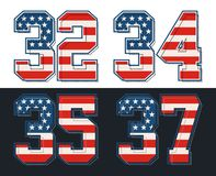 Set numbers america flag textured. Vector image Royalty Free Stock Image