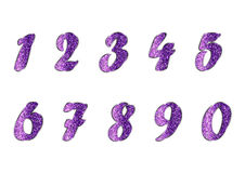 Set of numbers in amethyst tones Royalty Free Stock Images