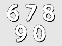 67890 set of numbers with a bloated design Royalty Free Stock Photo