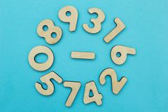 Set of numbers on a blue background, concept stock image