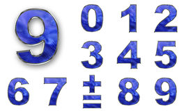 SET numbers, blue color royalty free illustration