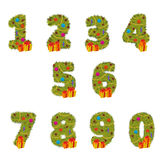 Set of numbers Christmas tree from 1 to 9 Royalty Free Stock Photos