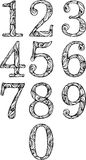 Set of numbers in classic font Royalty Free Stock Photography