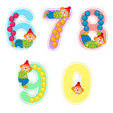 Set of numbers with clown juggler from 6 to 9. Vector illustration, eps stock illustration