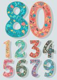 Set of Numbers with Colorful Floral Decor Royalty Free Stock Photo