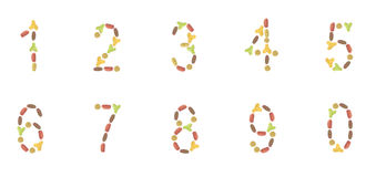 A set of numbers composed of pet food (cat or dog) labels. Arabic numerals of dry cat and dog food, on white background stock photos