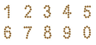 A set of numbers composed of pet food (cat or dog) labels. Arabic numerals of dry cat and dog food, on white background stock image