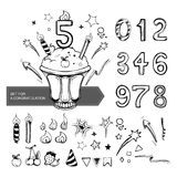 Set of numbers for a congratulation. Big set for designers with festive cake, candles and all numbers for a congratulation Stock Photos