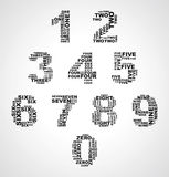 Set of numbers consisting of words monochrome 0-9 from zero to n. Set of numbers consisting of words of different size monochrome 0-9 from zero to nine Stock Photo