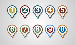 Set of Numbers. Design mapping pins. Icon.Map Markers or GPS Map Stock Photography