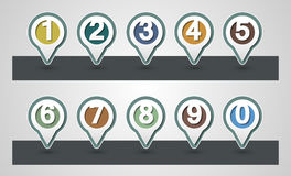 Set of Numbers. Design mapping pins. Icon.Map Markers or GPS Map Royalty Free Stock Photography
