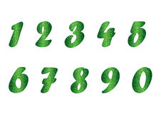 Set of numbers in emerald tones Royalty Free Stock Photography