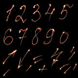 Set of numbers. Set of fire burning arabic numbers stock photography