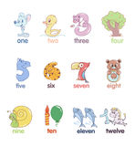 Set of numbers in the form of animals Stock Images