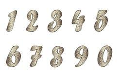 Set of numbers in golden-brown tones Stock Image