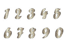 Set of numbers in golden tones Royalty Free Stock Photography