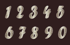 Set of numbers in golden tones Royalty Free Stock Photo
