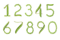 Set of numbers with green peas. Set of numbers with unique design of the pods of green peas. Each figure represents a unique and inimitable combination of pods Stock Photos