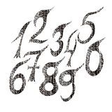 Set of numbers. Grunge style. Handwritten design. Royalty Free Stock Images