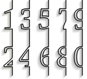 Set of numbers with long shadow. List of numbers for infographic Stock Photo