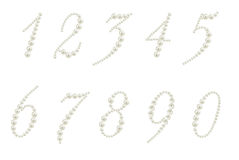 Set of numbers made from pearls Stock Photos
