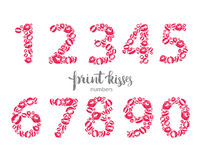 Set of numbers, made from printed kisses Stock Image