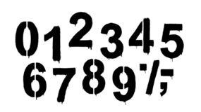 A set of numbers made by the stencil and drips of paint. Vector illustration. Stencil numeral 0 and drip paint. Black on white, white on black. Vector stock illustration