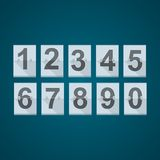 Set of numbers for mechanical scoreboard. Stock Photo
