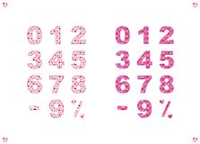 A set of numbers, a minus sign and a percent sign with a colorful pattern royalty free illustration