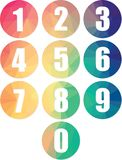Set of numbers modern colorful web icons isolated numerical vectors. Colorful low poly round frames numerical web buttons. Zero to nine numbers in modern origami vector illustration