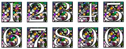 Set of Numbers on mosaic Stock Photo