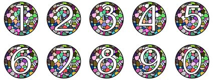 Set of Numbers on mosaic Royalty Free Stock Photos