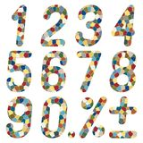 Set of numbers of mosaics. Stock Photography