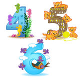 Set of numbers with number of animals from 4 to 6 Stock Photography