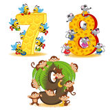 Set of numbers with number of animals from 7 to 9 Stock Photo