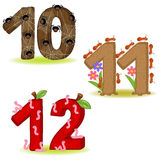 Set of numbers with number of animals from 10 to 12 Royalty Free Stock Photography