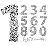 Set of numbers from one to ten, made with hand drawn leaves stock illustration