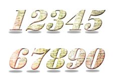 Set of numbers from one to zero. Old brick wall filling. Royalty Free Stock Photos