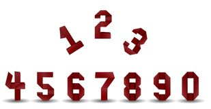 Set of numbers. Origami red paper numbers on white background Stock Photos