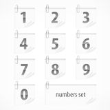 Set of numbers on paper stickers Royalty Free Stock Photos