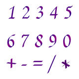 Set of numbers. Set of  purple numbers on white backgrounf Stock Photos